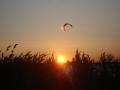 Sonnenuntergang Wieker Bodden mit Kitern